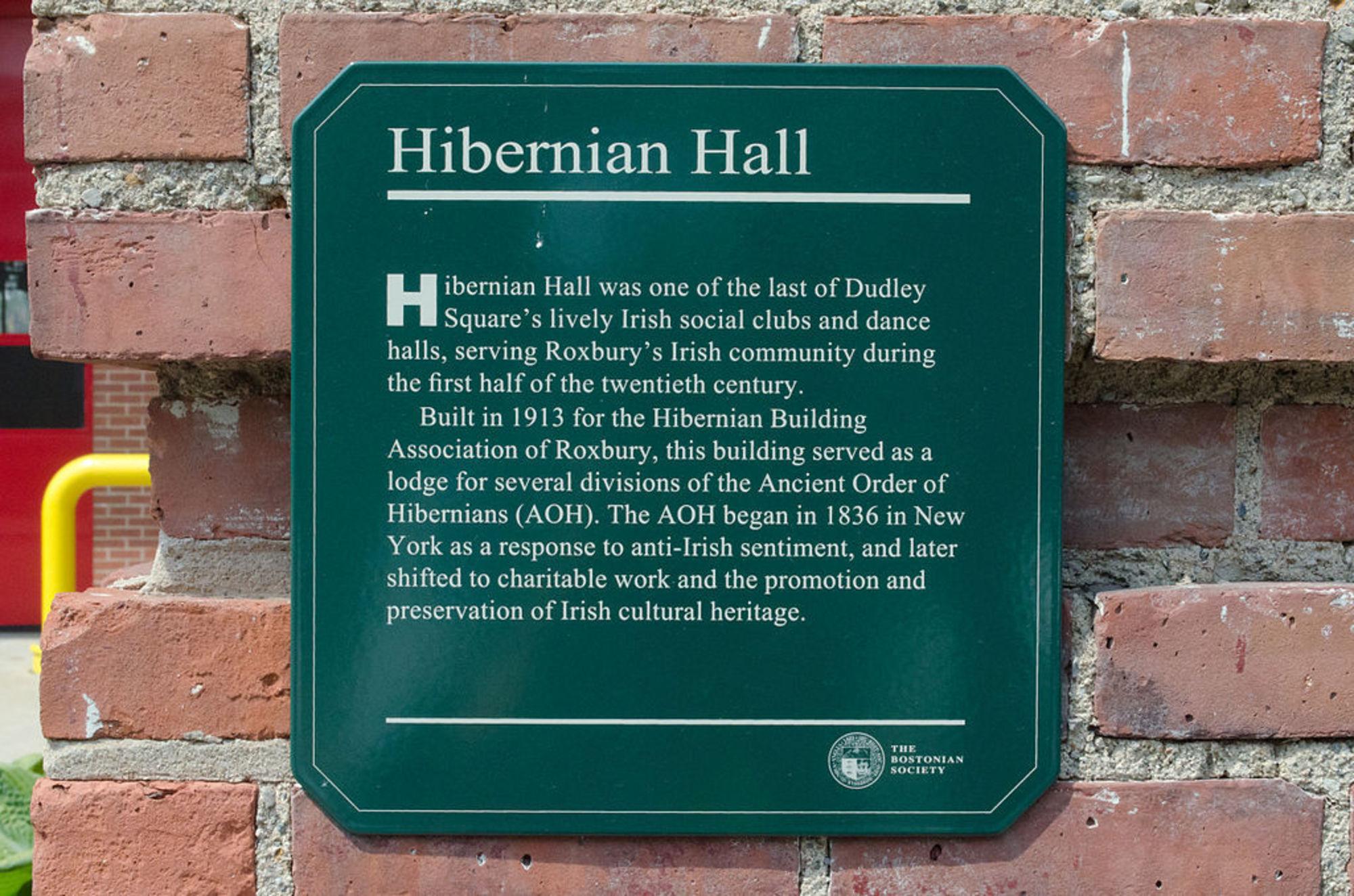 Hibernian Hall - Historic Plaque